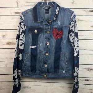 Jackets & Blazers - Desigual 12 embroidered sequin denim jean jacket